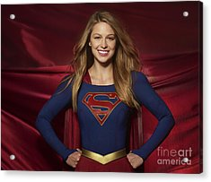 Colored Pencil Study Of Supergirl - Melissa Benoist Acrylic Print