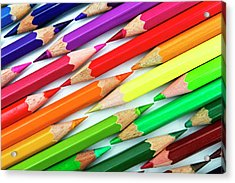 Colored Pencil Tips Acrylic Print by Image by Catherine MacBride