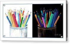 Colored Pencils - The Positive And The Negative Acrylic Print by Arline Wagner