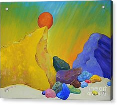 Colored Rocks In Sand Acrylic Print by Emily Michaud