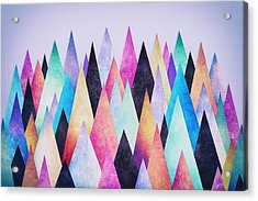 Colorful Abstract Geometric Triangle Peak Woods  Acrylic Print