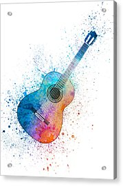 Colorful Acoustic Guitar 06 Acrylic Print by Aged Pixel