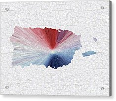 Colorful Art Puerto Rico Map Blue Red And White Acrylic Print by Saribelle Rodriguez