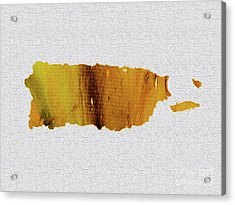 Colorful Art Puerto Rico Map Yellow Brown Acrylic Print by Saribelle Rodriguez