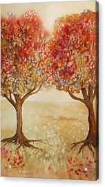 Colorful Autumn Twin Trees Acrylic Print by Kerri Ligatich