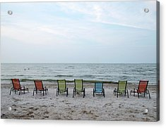 Acrylic Print featuring the photograph Colorful Beach Chairs by Ann Bridges