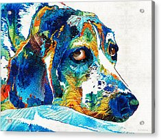 Colorful Beagle Dog Art By Sharon Cummings Acrylic Print by Sharon Cummings