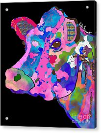 Colorful Bessie The Cow  Acrylic Print by Kate Farrant