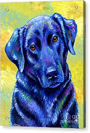 Colorful Black Labrador Retriever Dog Acrylic Print