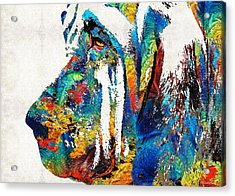 Colorful Bloodhound Dog Art By Sharon Cummings Acrylic Print