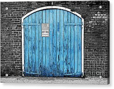 Colorful Blue Garage Door French Quarter New Orleans Color Splash Black And White And Poster Edges Acrylic Print by Shawn O'Brien