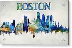 Colorful Boston Skyline Acrylic Print by Dan Sproul
