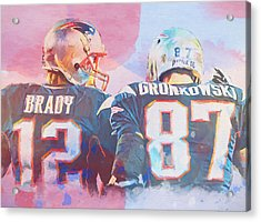 Acrylic Print featuring the painting Colorful Brady And Gronkowski by Dan Sproul