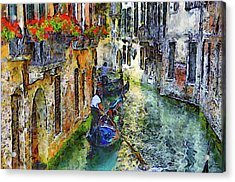 Colorful Canal In Venice Acrylic Print by Georgiana Romanovna