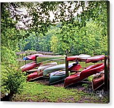 Colorful Canoes At Hungry Mother State Park Acrylic Print