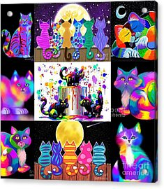 Colorful Cat Collage  Acrylic Print by Nick Gustafson