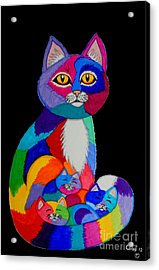 Colorful Cats And Kittens Acrylic Print by Nick Gustafson