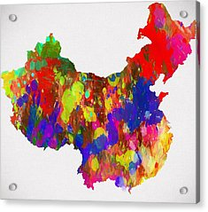 Colorful China Map Acrylic Print by Dan Sproul