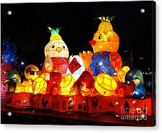 Acrylic Print featuring the photograph Colorful Chinese Lanterns In The Shape Of Chickens by Yali Shi