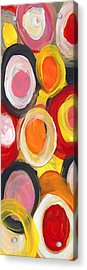 Colorful Circles In Motion Panoramic Vertical Acrylic Print by Amy Vangsgard