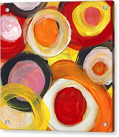 Colorful Circles In Motion Square 2 Acrylic Print by Amy Vangsgard