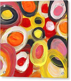 Colorful Circles In Motion Square 3 Acrylic Print by Amy Vangsgard