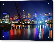 Acrylic Print featuring the photograph Colorful Cleveland Lights Shimmer Bright by Frozen in Time Fine Art Photography