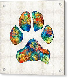 Colorful Dog Paw Print By Sharon Cummings Acrylic Print by Sharon Cummings