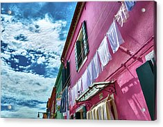 Colorful Facade With Laundry In Burano Acrylic Print