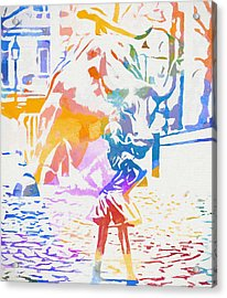 Acrylic Print featuring the painting Colorful Fearless Girl by Dan Sproul