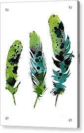 Colorful Feathers Minimalist Painting Acrylic Print