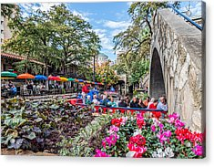 Colorful Festival Along River Walk Acrylic Print by Tod and Cynthia Grubbs