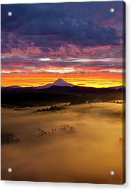 Colorful Foggy Sunrise Over Sandy River Valley Acrylic Print