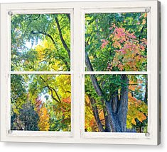 Colorful Forest Rustic Whitewashed Window View Acrylic Print