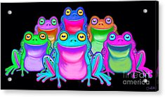 Acrylic Print featuring the painting Colorful Froggies by Nick Gustafson
