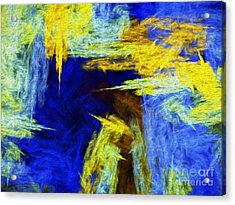 Acrylic Print featuring the digital art Colorful Frost Abstract by Andee Design
