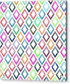 Colorful Geometric Patterns  Acrylic Print by Amir Faysal