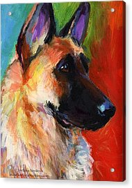 Colorful German Shepherd Painting By Acrylic Print