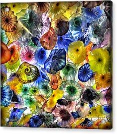 Colorful Glass Ceiling In Bellagio Lobby Acrylic Print by Walt Foegelle