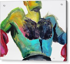 Colorful Hairy Boxer Acrylic Print by Shungaboy X