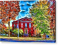 Colorful Harrison Courthouse Acrylic Print by Kathy Tarochione