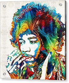Colorful Haze - Jimi Hendrix Tribute Acrylic Print by Sharon Cummings