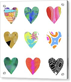 Colorful Hearts- Art By Linda Woods Acrylic Print by Linda Woods