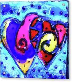 Colorful Hearts Equals Crazy Hearts Acrylic Print by Genevieve Esson