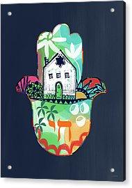 Colorful Home Hamsa- Art By Linda Woods Acrylic Print by Linda Woods