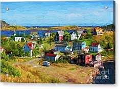 Colorful Homes In Trinity, Newfoundland - Painterly Acrylic Print