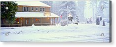 Colorful Hotel In Winter Snowstorm Acrylic Print