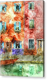Colorful Houses In Burano Island, Venice Acrylic Print
