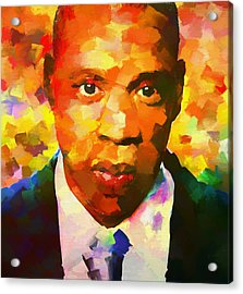 Colorful Jay Z Palette Knife Acrylic Print by Dan Sproul
