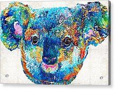 Colorful Koala Bear Art By Sharon Cummings Acrylic Print by Sharon Cummings